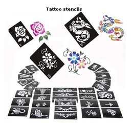 Wholesale Glitter Tattoo Stencil Sheet - Free shipping 50 Mixed Design Sheets Glitter Temporary Tattoo Stencils