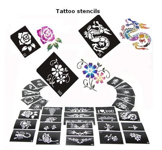 Envío gratis 50 hojas de diseño mixto brillo temporal plantillas de tatuajes