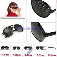 Wholesale Plastic Pinhole Glasses - 10 X hot sale Pinhole Glasses Black Eyesight Improvement Vision Care Exercise Eyewear Improver Free shipping