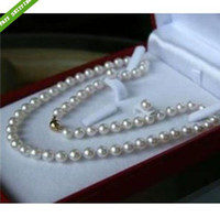 """Wholesale Earrings Solid Gold Filled - 14K Solid Gold 8-9MM White Akoya Pearl Necklace +Earring AAA 17.5"""""""