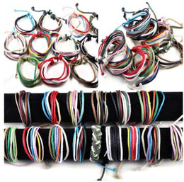 Wholesale Free Handmade Christmas Gifts - Brand New Wholesale Lots 36X Hemp Leather Handmade Braid Bracelets Wristband Cuff Gift Adjustable Free Shipping[B610M*36]