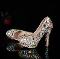 Wholesale Crystal Beaded Jeweled Shoes - 2015 Full crystal lady's formal shoes Jeweled Beaded Women's 14cm High Heels Beaded Bridal Evening Prom Party Wedding shoe Bridesmaid Shoes