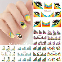 Wholesale French Nail Decals - 20pcs Lot 11 Design French Style Nail Art Foil Decals Water Transfer Nail Sticker Tip [Retail] wholesale free shipping
