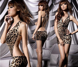 Vestido Sin Respaldo De Leopardo Baratos-Lingerie Sexy Backless V-cuello Leopard Stripper Clubwear Party Mini Dress