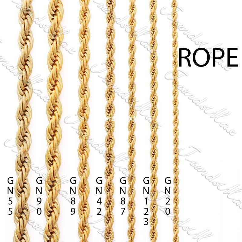 2019 Wholesale 3 4 5 24k Gold Plated Necklace Chain Rope