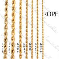 goldene ketten großhandel-Großhandel - 3/4/5 / 24K Gold überzogene Halskette Kettenseil MENS Womens Kette GF Jewelry GNM28