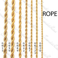 Wholesale 24k gold filled chains - Wholesale - 3 4 5  24K Gold Plated Necklace Chain Rope MENS Womens Chain GF Jewelry GNM28