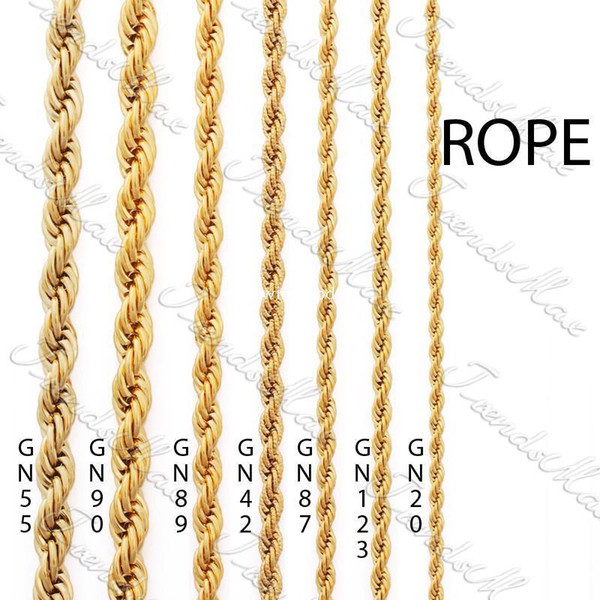 top popular Wholesale - 3 4 5  24K Gold Plated Necklace Chain Rope MENS Womens Chain GF Jewelry GNM28 2021