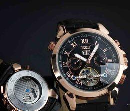 Wholesale Tourbillon Cheap - jaragar black face rose gold watch Luxury Swiss Men Leather Automatic Mechanical Tourbillon Dive stainless cheap Mens Wrist watches Sport