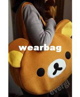 Barato Rilakkuma San-San x Rilakkuma bonito Shoulder Big Bag Handbag Bag Plush Relax Urso de Brown
