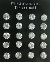 Aretes de 7mm online-Comercio al por mayor de Acero Inoxidable 316L 6 Prongs Espumoso 3mm-7mm 0.5ct-1.0ct Ronda Cubic Zirconia Diamond CZ Stud Pendientes (10pairs / lot)