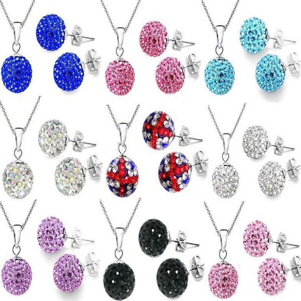 Hot Sale Fashion Women's Best gift 50% Off Shamballa Necklace Earrings Set 925 Silver 10mm Clay Disco Ball Crystal Beads Jewelry 30sets