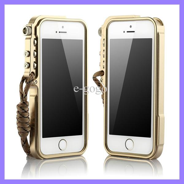 For iPhone 5 5G 5S Trigger 4th Design Premium Metal Aluminum Bumper Case with Lanyard Sling Durable Frame Cover