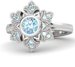 Wholesale Engraved 925 - Frozen Elsa Snowflake Rings 925 Sterling Silver Aquamarine Rings Engagement Rings Free Engraving Free Shipping