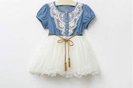 Wholesale Denim Yarn - 2014 New Children Clothing Good Quality Denim Net Yarn Girl Sweet Dress With Belt Short Sleeve Baby Kid's Princess Dress GX65