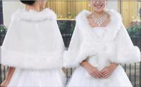 Wholesale Wedding Dresses Matching Jackets - Hot Free Shipping Modern Style Sleeveless Shawl Bridal Wraps High Quality Feather White Match Dress Wedding Jackets