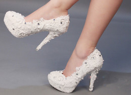 $enCountryForm.capitalKeyWord Canada - Luxury pearl bride wedding shoes lace beautiful Rhinestone Super High Heels Size Custom 3 Inches Bridesmaid Shoes
