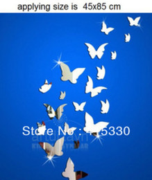 Wholesale 3d Mirror Butterflies - Hot Selling 3D mirror wall stickers Very nice home decoration 20 butterfly New Arrival free shipping