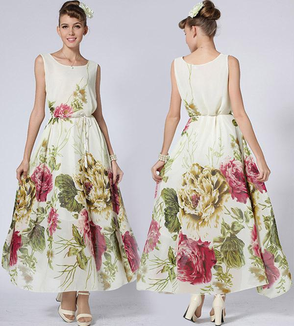 여름 드레스 2015 새로운 여성 숙녀 인쇄 쉬폰 조끼 롱 드레스 플러스 크기 맥시 드레스 보헤미안 비치 복장 볼 가운