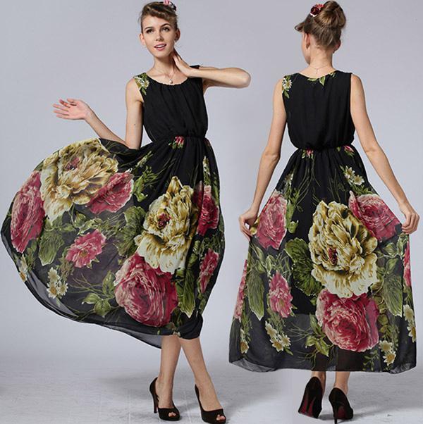 Robes D'été 2015 Nouvelles Femmes Dames Imprimer Gilet En Mousseline de Soie Robe Longue Plus La Taille Maxi Robes Bohème Plage Robe Robe De Bal