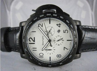 Wholesale Daylight Watch - Famous brand daylight wristwatches quartz chronograph Classico date black leather strap silver steel case men's watches