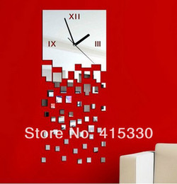 Wholesale Wallsticker Living Room - Hot Sale Fashion home decor Wallsticker Removable DIY 3D Wall mirror Clock sticker Movement Free Shipping