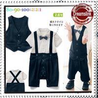 Wholesale Baby Bodysuit Formal - Free Shipping Summer Baby One Piece Romper Newborn Boys Gentleman Bow Tie Vest Romper Bodysuit Babywear Infants Toddlers Kids Garments