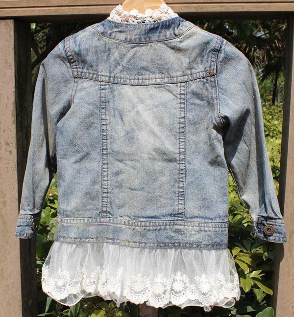 Uzun Kollu Kot Ceket Tops Mont Kızlar Sevimli Dantel Ceketler Moda Prenses Rahat Ceket Mavi Denim Ceket Çocuk Giyim Çocuk dış giyim
