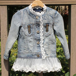 Wholesale Denim Child Girl - Free Fedex EMS DHL Ship Denim Coat Kids Girls washed Lace denim jacket children spell Lace Princess denim jacket Outwear