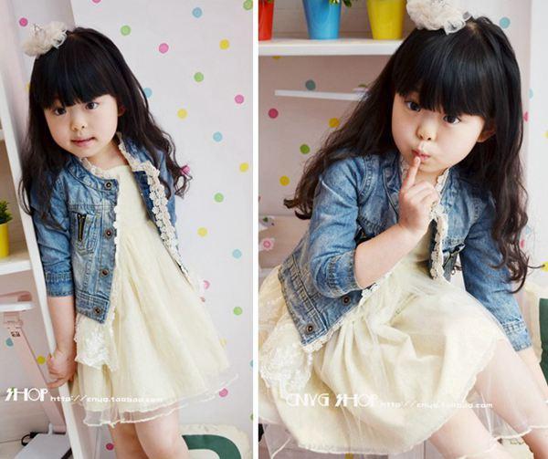 طويلة الأكمام الجينز سترة قمم معاطف الفتيات لطيف الرباط جاكيتات أزياء الأميرة عارضة معطف الأزرق الدنيم سترة الاطفال ملابس الأطفال أبلى