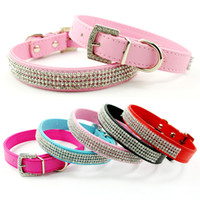 Wholesale dog collar diamante wholesale - colors sizes New Full Rhinestone Dog Collars Leather Diamante Cat Collar Bling for small dogs