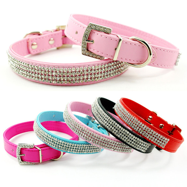 (4 colors 4 sizes ) New Full Rhinestone Dog Collars Leather Diamante Cat Collar Bling for small dogs