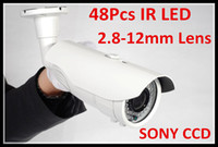 Wholesale Ccd 48 - Free Shipping Security CCTV Sony 480TVL day and night infrared CCD Waterproof IR Camera with 2.8-12mm varifocal lens all in one bracket
