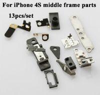Wholesale Iphone 4s Middle Frame Plate - 13PCS SET For iPhone 4S Middle Frame Parts Set Middle Plate Full Small Parts Set
