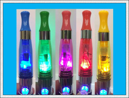Wholesale Ego Blue Led - DHL free!!!Colorful LED CE4 1.6ml Atomizer clearomizer with LED Light for EGO-CE4S EGO Electronic Cigarette Mixed Color High quality