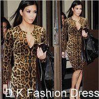 Wholesale Leopard Long Prom Dresses - Street Style 2015 New Women Leopard Keyhole Celeb OL Office Party Clubwear Evening Prom Bodycon Dress Kim Kardashian Women OL work dress