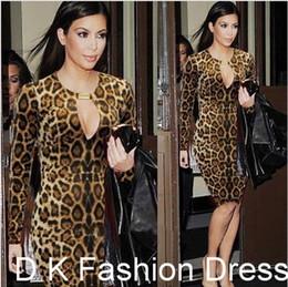 Wholesale Leopard Evening Prom Dress - Street Style 2015 New Women Leopard Keyhole Celeb OL Office Party Clubwear Evening Prom Bodycon Dress Kim Kardashian Women OL work dress