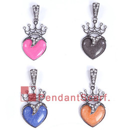hearts love resin NZ - 12PCS LOT New Design 4 Colors Mixed DIY Pendant Scarf Accessories Metal Rhinestone Royal Crown Resin Heart Pendant, Free Shipping, AC0274MIX