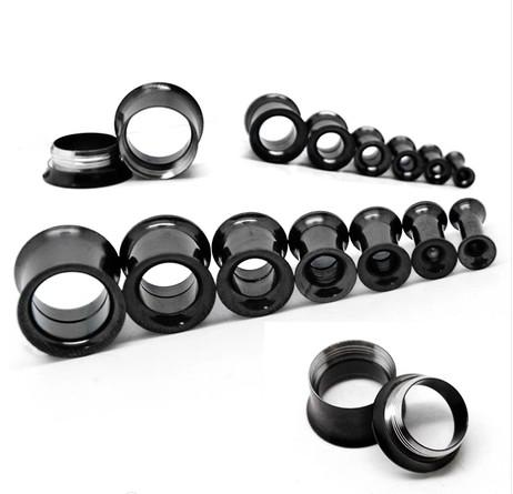 CF202 wholesale mix 9size double flared internally threaded stainless steel black flesh tunnel ear plug piercing