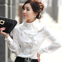 Wholesale Gentle White - please tell me size and color!2014 gentle women s stand collar long-sleeve ruffle faux silk plus size shirt free shipping WCL105