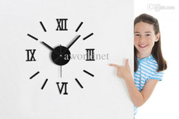 Wholesale Diy Wall Clock Metal - Wholesale - Metal Texture DIY Fun Creative Wall Clock Fashion Roman Numerals