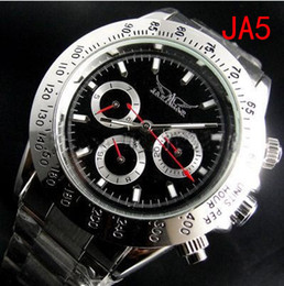 Wholesale Jaragar Luxury Swiss Automatic - jaragar Luxury Automatic Black dial Men Mechanical classic swiss Full Stainless steel Dive casual Mens dress Watches Silver free shipping