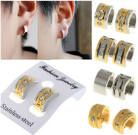 Wholesale Earrings Hoop Punk - New Punk Stainless Steel Men Women Unisex Ear Circle Hoop Stud Huggie Earrings[JE01012-JE01016]