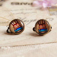 Cute Rabbit Clip Earrings Without Piercing para crianças Vintage Copper Earrings Christmas Jewelry rj14