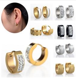 Wholesale Steel Huggie Earrings - Punk Mens Women 1Pair Crystal Stainless Steel Ear Hoop Stud Earrings Gauges NEW[JE01008-JE01010]
