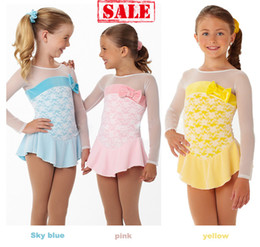 Figure Ice Skating Canada - Ice skating dress butterfly bow child figure skating dresses pink blue yellow cute series