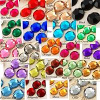 ingrosso perline diamanti sciolti-New 2000pcs 10mm Sfaccettature in resina con gemme di strass Perline piatte in cristallo con diamanti pendenti in cristallo dec fai da te
