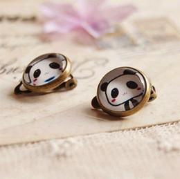 Boucles d'oreilles panda en Ligne-Mignon Panda Clip Boucles D'oreilles Sans Piercing Vintage Cuivre Boucles D'oreilles Mode Enfants Bijoux rj15