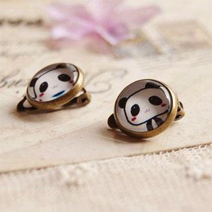 Orecchini Panda Carino Orecchini Senza Piercing Orecchini Vintage Rame Moda Gioielli per bambini rj15