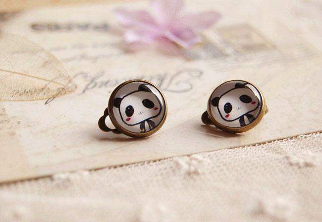 Orecchini Panda Carino Orecchini Senza Piercing Orecchini Vintage Rame Moda Gioielli bambini rj15